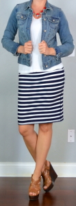 outfit post: jean jacket, white t-shirt, striped jersey pencil skirt, brown wedges