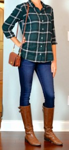 guest outfit post – sister week: green plaid shirt, skinny jeans, brown riding boots