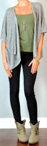 guest outfit post – sister week: grey slouchy cardigan, green tank, black skinny jeans, ankle boots
