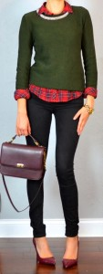 guest outfit post – sister week: red plaid shirt, green sweater, black skinny jean, burgundy pumps