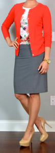 outfit post: grey pencil skirt, floral shirt, red cardigan, nude pumps