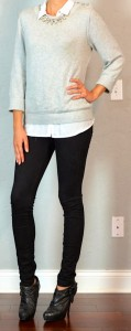 guest outfit post – sister week: grey sweater, white button down, black skinny jeans, black ankle boots