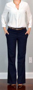 outfit post: white crepe blouse, navy pants, leopard belt, brown mary janes