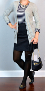 outfit post: striped shirt, grey boyfriend cardigan, black mini skirt, black flats