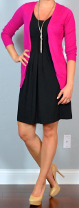 outfit post twofer: black dress, pink cardigan, nude pumps & black suit, burgundy camp shirt, black pumps