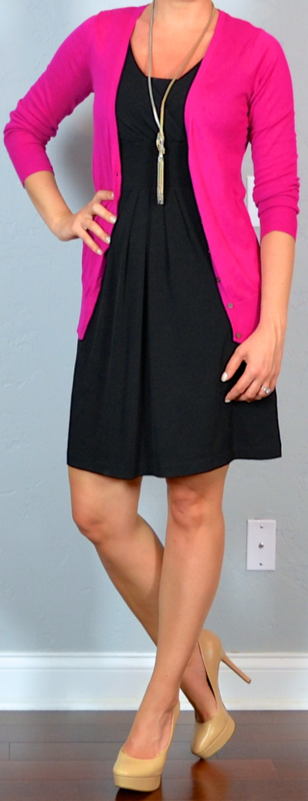 Outfit post twofer black dress pink cardigan nude pumps ...