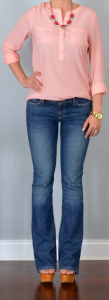 outfit post: coral/peach crepe blouse, bootcut jeans, wedges