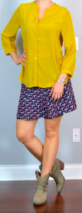 outfit post: mustard blouse, jacquard weave skirt, ankle boots