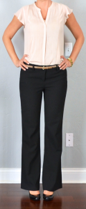 outfit post: beige flutter sleeve blouse, black editor pants, black patent wedges, gold belt