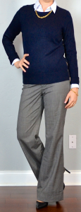 outfit post: navy zipper sweater, blue pinstripe button down, grey dress pants