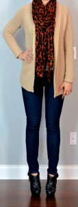 outfit post: oatmeal knit cardigan, rockstar skinny jeans, leopard scarf, black ankle boots