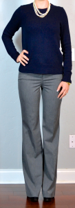 outfit post: navy side zipper sweater, grey pants, layered necklace