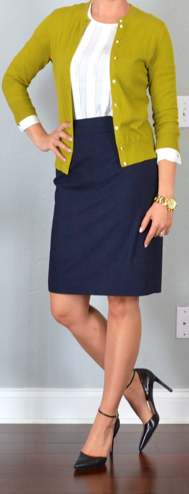 Outfit post white blouse mustard/green cardigan navy pencil skirt black pointed toe heels