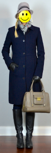 outfit post: grey cloche hat, navy lady day coat, grey plaid scarf, black riding boots