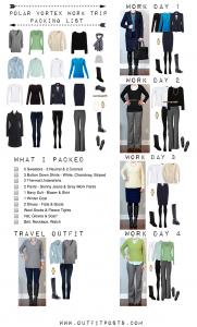 outfit post: polar vortex work trip packing list