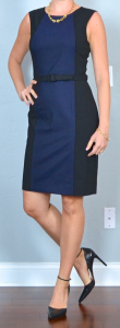outfit post: navy colorblock sheath, black pointed toe pumps, gold link necklace