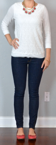 outfit post: white lace top, rockstar skinny jeans, red flats