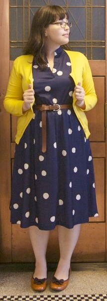 outfit post: navy polka-dot wrap dress, mustard cardigan