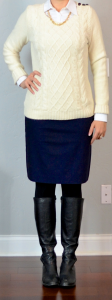 outfit post: cream cable knit sweater, white button down shirt, navy pencil skirt, feece tights, riding boots