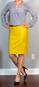 outfit post: mustard pencil skirt, striped crossover blouse, black pointed toe pumps