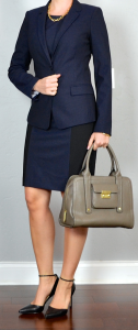 outfit post: navy colorblock sheath, navy two-button jacket, black pointed toe pumps