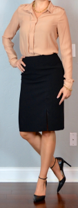 outfit post: peach/taupe/nude silk blouse, black pencil skirt, pointed toe heels