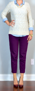 outfit post: beige slub sweater, light chambray shirt, purple cropped pants, burgundy pointed toe pumps