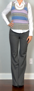 outfit post: purple striped sweater vest, white button down shirt, grey dress pants