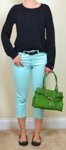 outfit post: black crepe shirt, mint cropped jeans, black flats