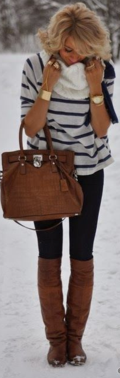 Guest outfit post striped shirt black skinny jeans white fringe scarf brown riding boots
