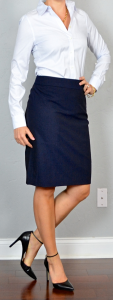 outfit post: pinstripe button down shirt, navy pencil skirt, black pointed toe pumps