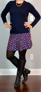 outfit post: navy zipper sweater, jacquard weave skirt, black riding boots