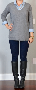 outfit post: grey tunic sweater, light chambray shirt, rockstar skinny jeans, black riding boots