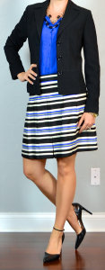 outfit post: cobalt blue blouse, black suit jacket, striped skirt, pointed toe pumps
