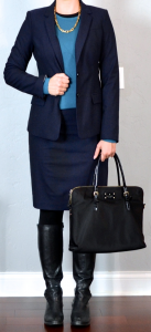outfit post: navy suit jacket, navy pencil skirt, teal sweater, black riding boot