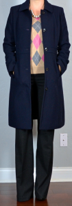 outfit post: argyle sweater, black editor pants, navy lady day coat, black pointed toe pumps