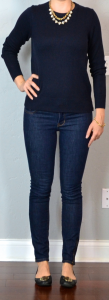 outfit post: navy sweater, skinny rockstar jeans, black flats, crystal necklace