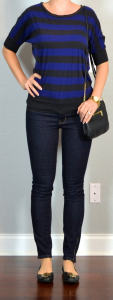 outfit post: blue & black striped shirt, skinny rockstar jeans, black flats, black cross body bag