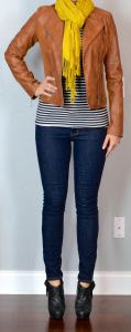 outfit post: striped shirt, cognac jacket, rockstar skinny jeans, mustard scarf, black ankle booties