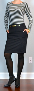 outfit post: striped shirt, black pencil skirt, pointy toe black pumps