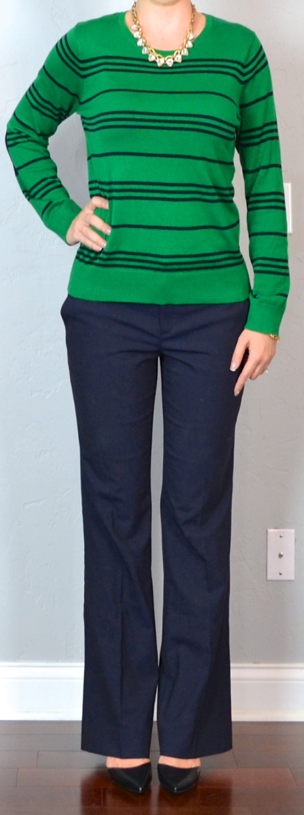 Outfit post green u0026 navy striped sweater navy work pants black pointy toed pumps crystal ...