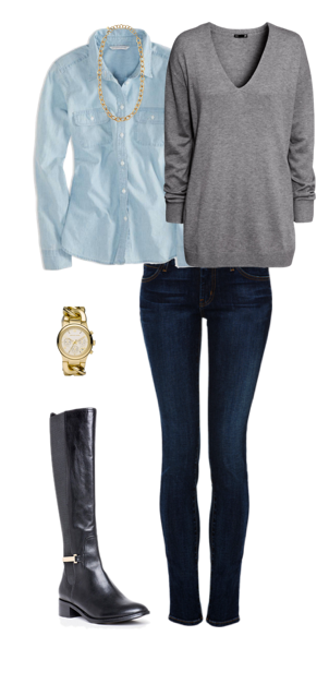 Outfit post grey tunic sweater light chambray shirt rockstar skinny jeans black riding boots