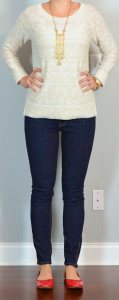 outfit post: canvas slub sweater, rockstar skinny jeans, red ballet flats