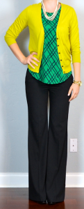 outfit post: green print top, mustard cardigan, black 'editor' pants