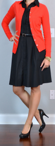 outfit post: black shirt dress, red cardigan, black pumps