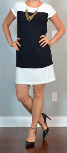 outfit post: crepe colorblock shift dress, black pointed toe pumps