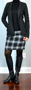 outfit post: black turtleneck, black blazer, plaid skirt, black boots
