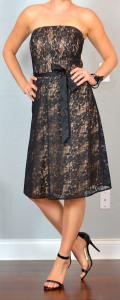 outfit post: black lace strapless dress