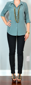 outfit post: green/grey/aqua blouse, black skinny jeans, gladiator heels