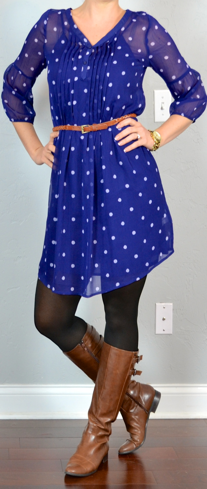 Outfit post blue polka-dot dress black tights brown ...